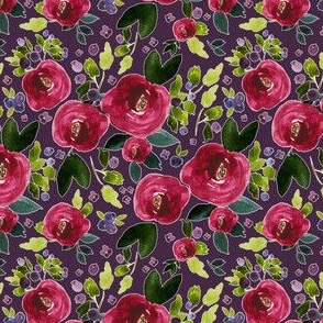"4"" Red Roses and Berries Eggplant Background"