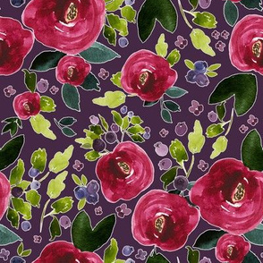 "8"" Red Roses and Berries Eggplant Background"