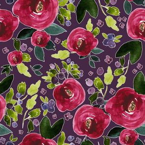 "18"" Red Roses and Berries Eggplant Background"