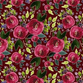 "4"" Red Roses and Berries Scarlett Background"
