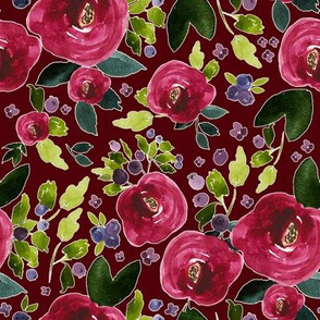 "8"" Red Roses and Berries Scarlett Background"