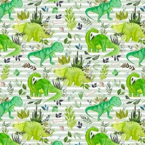 "4"" Dinosaur Land Green Stripes"
