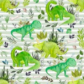 "8"" Dinosaur Land Green Stripes"