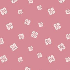 Dark pink background with small geometric tossed flowers