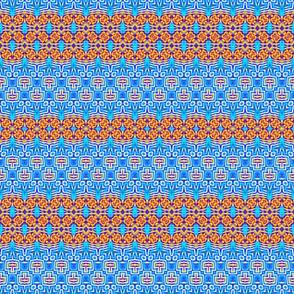 Woven Blue & Orange Aztec Weave