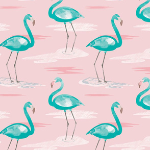 Tall Flamingos baby pink by Mount Vic and Me