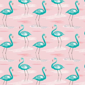 Tall Flamingos baby pink (small) by Mount Vic and Me