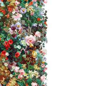 Victorian Garden Border ~ Border Print ~ Bright Garden on White