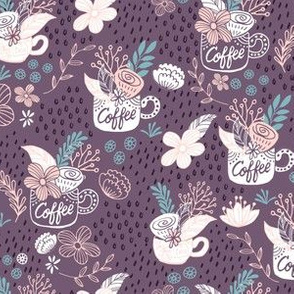 Coffee Tea Rain - Purple