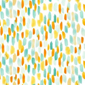 Orange and Teal Brushstrokes