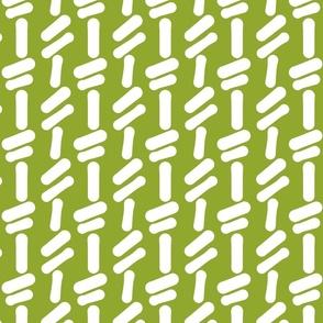 green back, white shapes