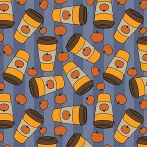 Pumpkin spice latte blue stripes