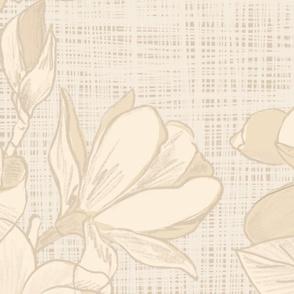 Creamy Magnolias on grass cloth