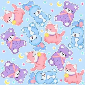 Pastel Stuffies on Baby Blue