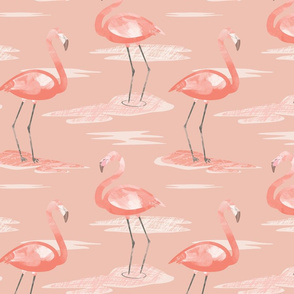 Tall Flamingos warm tones by Mount Vic and Me