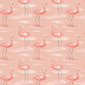 Tall Flamingos warm tones (small) by Mount Vic and Me