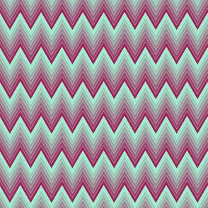 Simple chevron pattern shaded from bordeauxe to mint