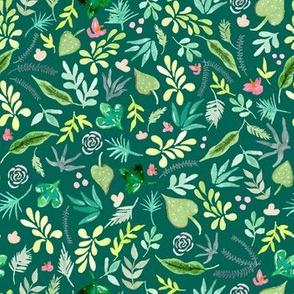 Tropical Garden - Green Background