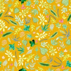 Tropical Garden - Gold Background