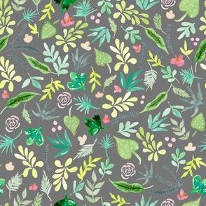 Tropical Garden - Grey Background