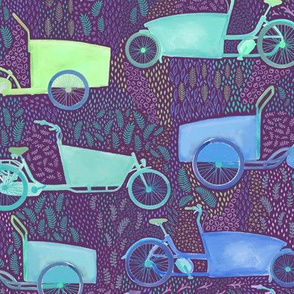 Large Scale Bakfiet Cargo Bikes on Purple