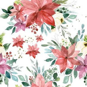 Merry Watercolor Florals // White