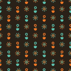 Spring flower in pot seamless pattern.