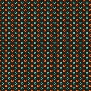 Vintage brown flower polka dot circles.