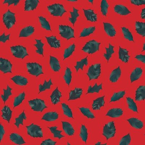 Holly leaves on red