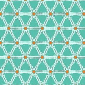 Geometric interlocking lattice triangle pattern.