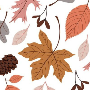 Fall Leaves on White - Large Scale