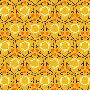 Autumn leaves grid seamless pattern.