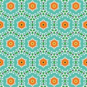 Retro bold floral circles seamless pattern.