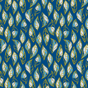 Abstract Leafs Navy and Gold