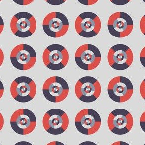 Simple geometric discs pattern red and silver