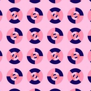 Simple geometric discs pattern pink and blue