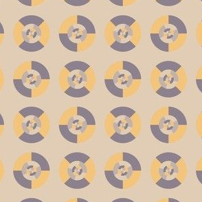Simple geometric discs pattern yellow and taupe