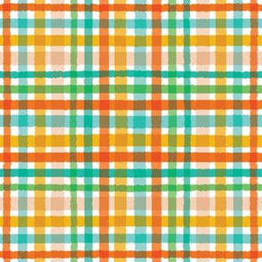 Colorful hand drawn tartan plaid gingham pattern.