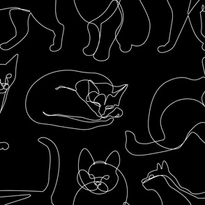 Cats White Lines Minimalist