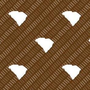 South Carolina State Shape Stripes Brown and White