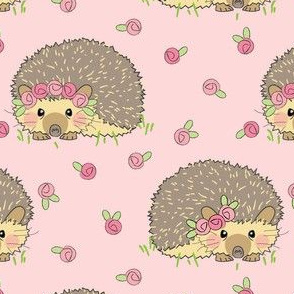 hedgehogs and rosebuds on pink