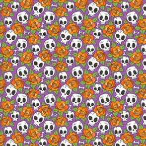 Skulls and Roses Halloween Fall Orange on Purple Tiny Small