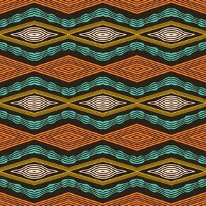 Colorful hand drawn african tribal diamonds pattern.