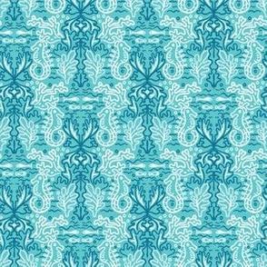Sealife damask seahorse pattern.