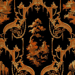 The Hawes Chinoiserie Toile ~ Halloween Orange and Black