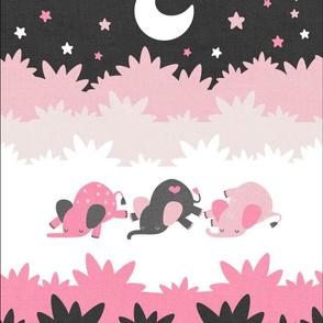 """Sleepy Elephants Blankets 13.5""""x18"""" Pink"""