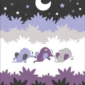 """Sleepy Elephants Blankets 13.5""""x18"""" Lavender"""