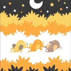 """Sleepy Elephants Blankets 13.5""""x18"""" Yellow"""