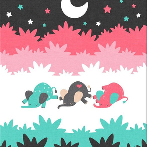 "Sleepy Elephants Blankets 13.5""x18"" Sherbet"