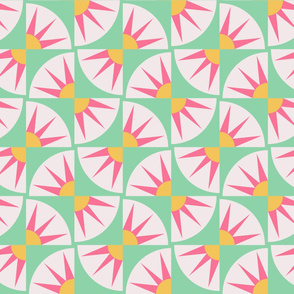 Pink and Green MRR - Many Rays of Ra Cheater Quilt